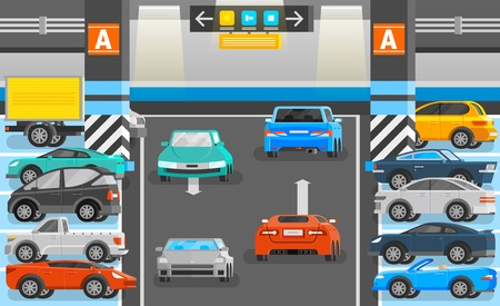 transportation facilities: Underground parking with road cars and signs orthogonal flat vector illustration