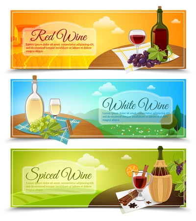 wines: Set of three horizontal colored banners in a modern style with different types of wines vector illustration