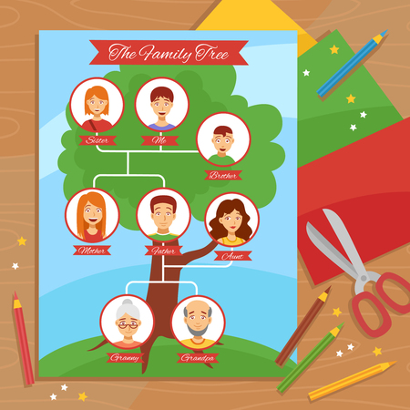 family tree: Family tree creative project with paper scissors pencils and relatives pictures arrangement flat poster abstract vector illustration