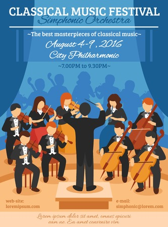 symphony: Classical music festival flat poster with musicians of symphonic orchestra and conductor vector illustration