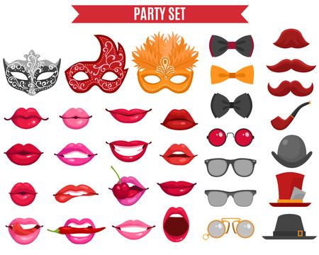 mariposa caricatura: divertidos iconos de partido conjunto de la máscara de la mascarada del falso lazo de mariposa del bigote y los labios de las mujeres en la ilustración vectorial aislado plana estilo retro