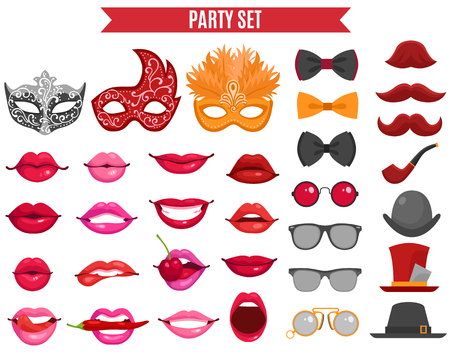 cartoon kiss: Funny party icons set of mask for masquerade fake mustache tie butterfly and women lips  in retro style flat isolated vector illustration Illustration
