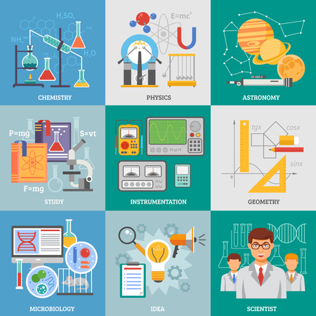 exact science: Exact science research 9 flat icons composition poster with chemistry physics astronomy symbols abstract isolated vector illustration