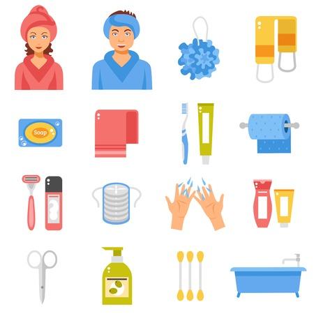 Badezimmer Hygiene-Zubehör flache Ikonen-Sammlung mit Seife Schwamm Schere und Badewanne abstrakt isolierte Vektor-Illustration