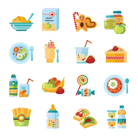 solids: Infant and baby food flat icons collection with milk formula and vegetable puree abstract isolated vector illustration