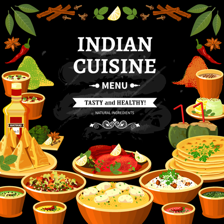 cuisine: Indian cuisine restaurant menu black board poster with colorful traditional spicy flavored dishes abstract vector illustration