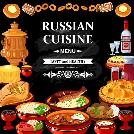 samovar: Russian cuisine restaurant menu black board poster with colorful traditional dishes vodka and samovar abstract vector illustration Illustration