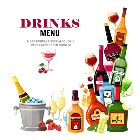 Alcoholic beverages colorful composition for restaurant bar drinks menu flat poster print with tequila shot vector illustration