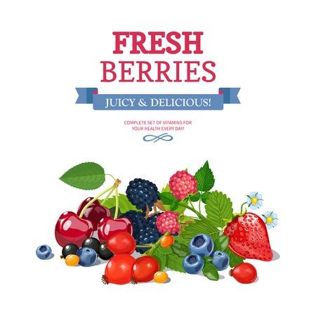 Heerlijke verse wilde en tuin bessen mix voor dagelijkse vitaminen consumptie kleurrijke achtergrond poster abstract vector illustratie Stockfoto - 54758949