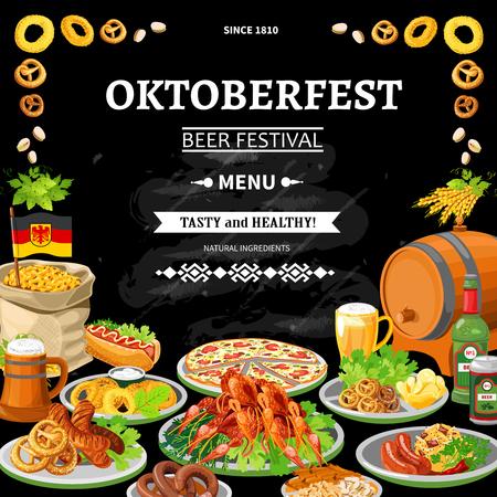 promo: German annual oktoberfest beer festival traditional dishes menu on black chalkboard background poster flat abstract vector illustration Illustration