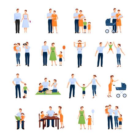 Familie pictogrammen die met ouders en kinderen vlak geïsoleerde vector illustratie