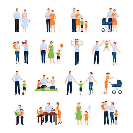 convivencia familiar: Iconos de la familia fijados con los padres y los niños aislados plana ilustración del vector Vectores