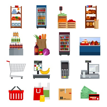 meat counter: Supermarket decorative flat icons set with money and cards bags refrigerators purchases payment equipments  isolated vector illustration Illustration