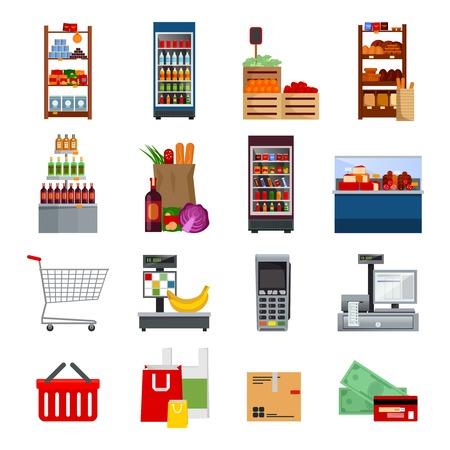 Supermarkt decoratieve vlakke pictogrammen set met geïsoleerde geld en kaarten tassen koelkasten aankopen betaling apparatuur vector illustratie