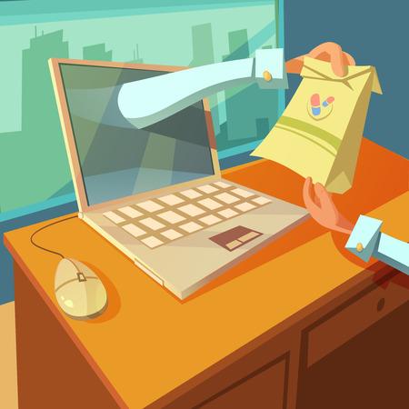 Online-Arzt-Konzept mit Laptop und Medizin Hände Cartoon-Vektor-Illustration Standard-Bild - 54758959