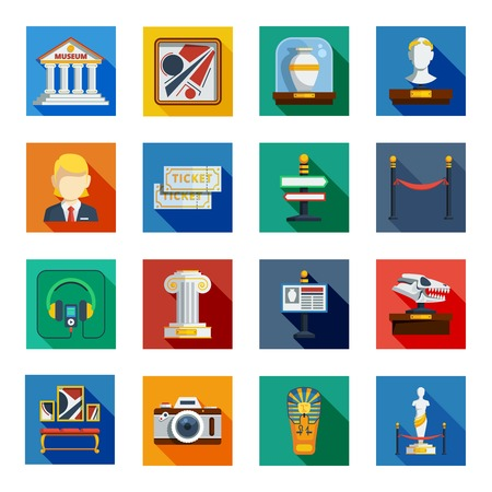 art blog: Museum flat squared icon set with colorful shadowed flat elements of museum equipment exhibit and announcement vector illustration