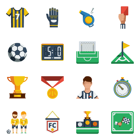 penalty flag: Soccer flat isolated  colored  icon set with different equipment and decorative symbols of field signs and players vector illustration