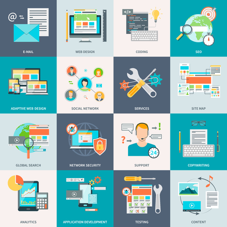 rewriting: Set of stylish concept icons showing the website development process vector illustration