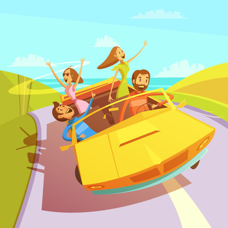 travelling: Friends traveling in a cabriolet to the sea background with men and women cartoon vector illustration