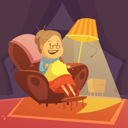 relax: Grandmother knitting in an armchair background with lamp and carpet cartoon vector illustration