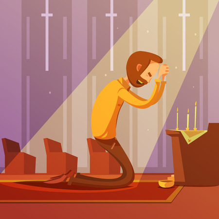 christian: Man praying on his knees in a christian church with candles cartoon vector illustration