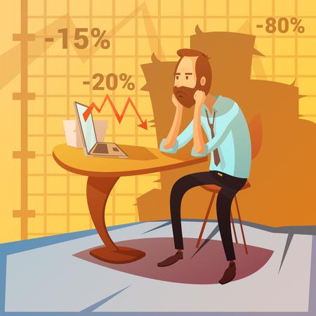 decrease: Business failure background with recession and decrease symbols cartoon vector illustration