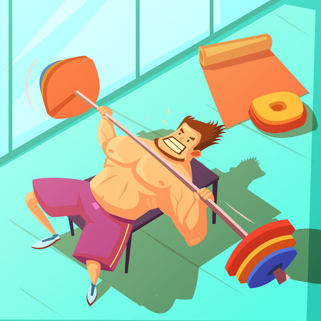 fitness center: Weightlifting in a gym background with bench  barbell and man cartoon vector illustration