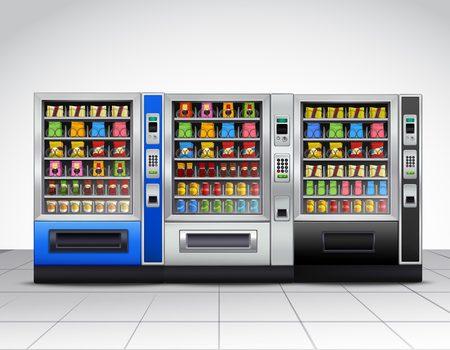 Réaliste distributeurs automatiques de vue de face avec de la nourriture et des boissons sur carrelage près du mur gris illustration vectorielle Vecteurs