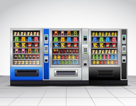 Realistic vending machines front view with food and drinks on tiled floor near grey wall vector illustration Stock Illustratie