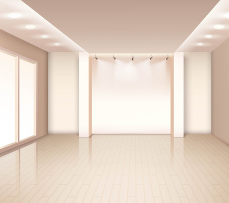 lighting fixtures: Empty  modern room interior with french windows illumination at ceiling in pale rose color vector illustration