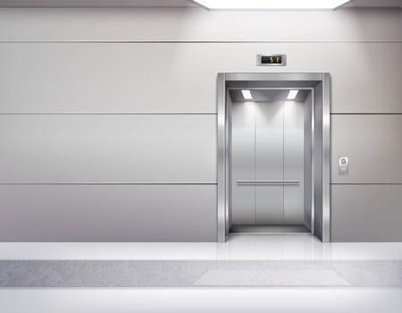 リフトの大理石の床の天井までの窓と灰色の壁ベクトル図を待っている間の現実的な空のエレベーター ホール