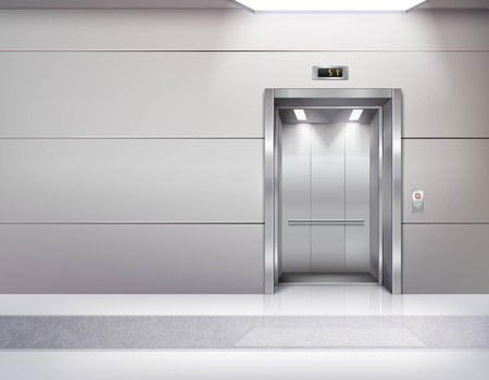 ceiling: Realistic empty elevator hall interior with waiting lift marble floor ceiling window and grey walls vector illustration