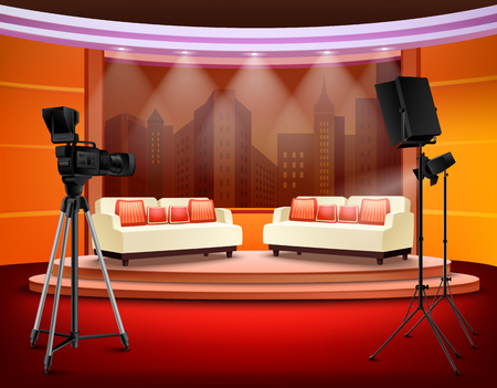 Talk show studio interior with comfortable sofas on pedestal filming equipment urban view in background vector illustration Çizim