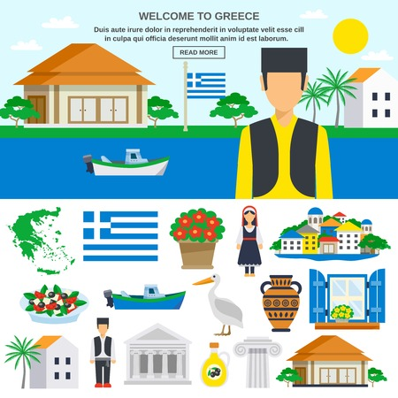 Greece Flat icon set with traditional costumes food buildings nature and abstract landscape vector illustration