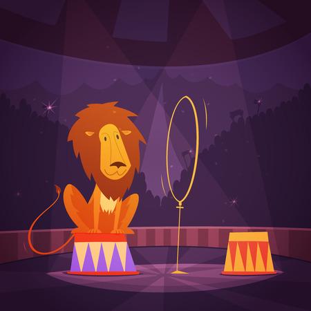 Circo leone che salta attraverso un anello sul palco illustrazione vettoriale cartone animato