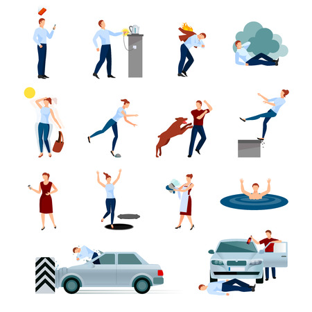 poisoning: Accidents injuries dangers decorative icons set with fallings poisoning bites of animals road crashes isolated vector illustration