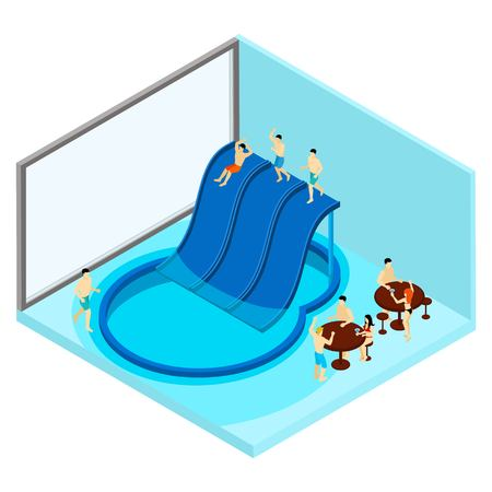 water park: Indoor water park with tables and water slides isometric vector illustration Illustration