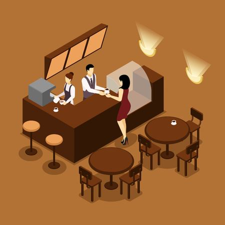 canteen: Cafe barista serving young lady customer at the counter isometric banner in brown tints abstract vector illustration