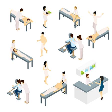 Massage icons set with back shoulders and face massage isometric isolated vector illustration Vectores