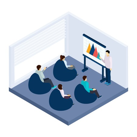 explanation: Coworking training for people with presentation and explanation isometric vector illustration Illustration
