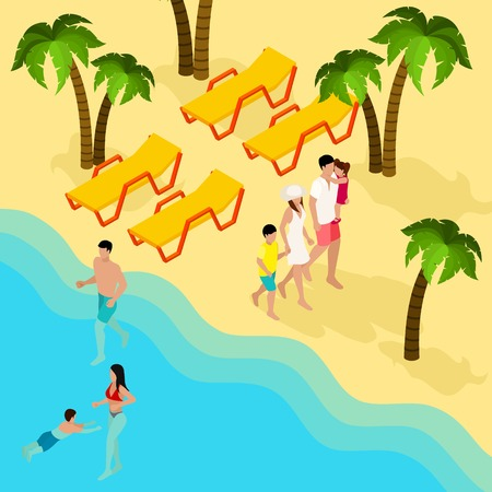 family vacation: Tropical beach family vacation isometric banner with parents and kids bathing swimming and tanning abstract vector illustration