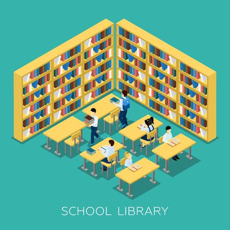 middle school: Students studying  and reading books in middle school library with bookshelves educational isometric banner abstract vector illustration