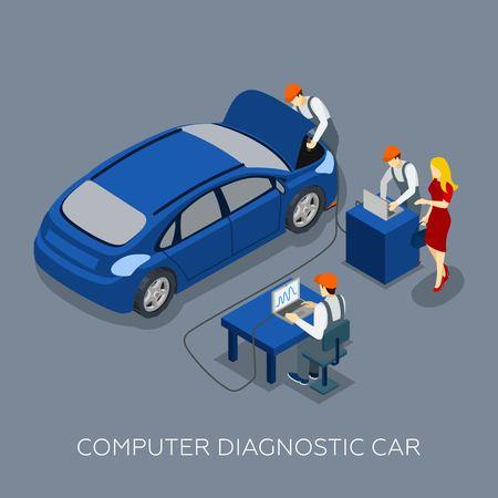 tire cover: Auto service computer car diagnostic isometric banner with mechanics team and customers design abstract vector illustration