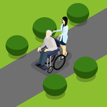 retired: Elderly retired people with disabilities support service isometric banner with old man in wheelchair abstract vector illustration Illustration