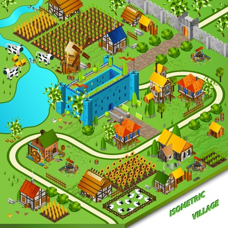 defence: Medieval village and castle background with mill well and houses isometric vector illustration