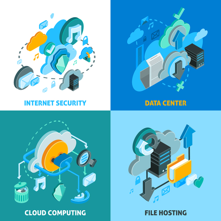 downloads: Cloud services concept icons set with data center and internet security symbols isometric isolated vector illustration
