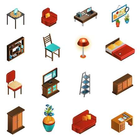 armchair: House interior isometric icons set with sofa table and chair isolated vector illustration Illustration