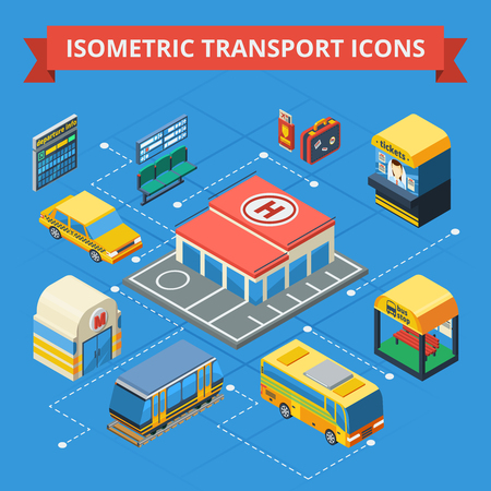 passenger transportation: Passenger transportation isometric flowchart with municipal and city transport ticket kiosk station building passenger accessories isolated vector illustration Illustration