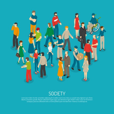 titles: Isometric people poster with mix of different men and women in crowd on blue background vector illustration