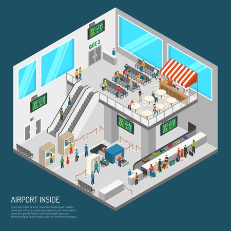 airport security: Airport poster of terminal inside presenting arrival hall receipt of baggage inspection zone and other isometric vector illustration Illustration